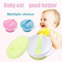 Набор детской посуды, тарелка на липучке , ложка, крышка