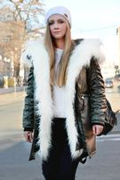 Зимняя женская куртка парка на меху хаки (лама) Arvisa TM