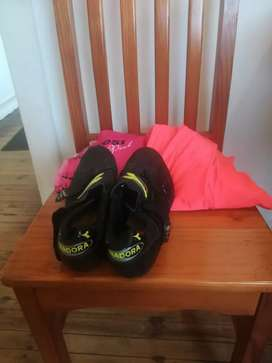 Cycling shoes with hoody and jacket