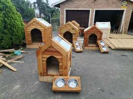 Dog kennels, solid pine, strong, treated with Corrugated iron roofing
