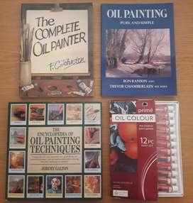 Oil painting tutorial books and paint for sale!