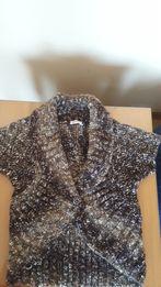 Sweter ORSAY, rozpinany, krótki rękaw, rozm.M, brąz z beżem
