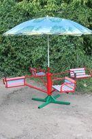 Карусель четырехместная с зонтиком, карусели детские, качели