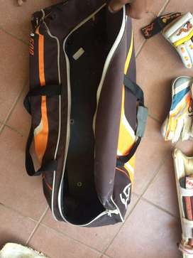 Cricket bag with batting pads (woodworm) ,wicket keeper pads and glove
