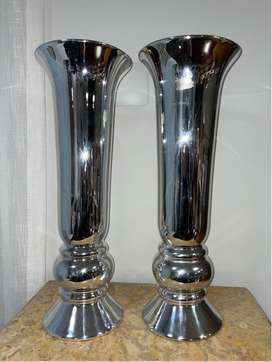 Silver plated vase pair