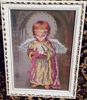 Вишивка чеським бісером Ангел із свічкою