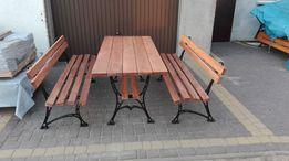Meble ogrodowe biesiadne stół 2 ławki XL żeliwne wysyłka 175 cm