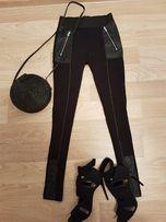 Spodnie ze skórzanymi wstawkami H&M rozmiar XS
