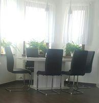 Zestaw 6 krzeseł na płozach brąz