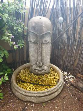 Easter Island Head Water fountain and X2 matching Garden Feautures