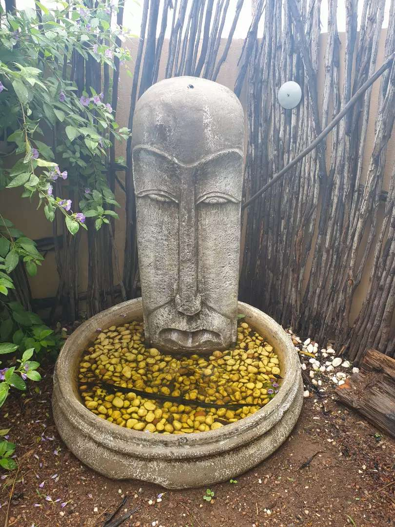 Easter Island Head Water fountain and X2 matching Garden Feautures 0