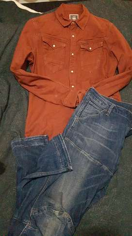 g star jean and shirt