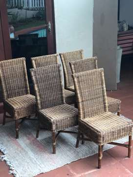 Set of 6 cane and wicker dining chairs for indoor / outdoor use