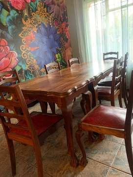 imbuia table 8 seater with chairs