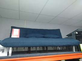 Material blue sleeper couch