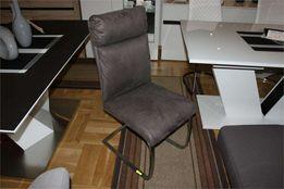 Krzesła krzesło RABEA -16% tkanina szara na płozie stal szczotkowana