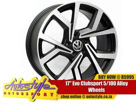 17 inch Evo Clubsport 5 100 pcd Alloy Wheels widest range mags for VW