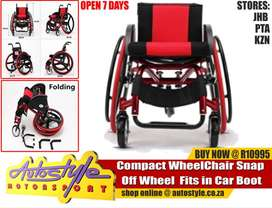 Wheelchair - Compact Fold up  Wheel Chair Snap Off Wheel  Fits in Car