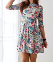 Sukienka w kwiaty niebieska suwak