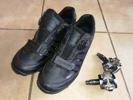 Ryder Bora 2.0 MTB Shoes 8UK + Shimano MTB Pedals and Cleates