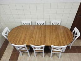 Okrągły stół rozkładany dwukolorowy z 8 krzesłami salon jadalnia nowy