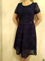 Нарядное платье кружевное вечернее синее платье миди, р. 38-40