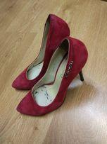 Туфли, замшевые туфли, красные замшевые туфли, классика