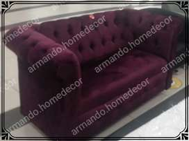 New luxury purple velvet couch with buttons Chesterfield