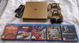 1tb ps4 console with controllers Gold colour