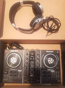 Numark DJ soundboard and Numark headphones