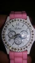 Zegarek biały różowy jelly watch diamenciki