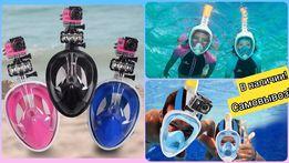 Маска для плавания снорклинга, + крепление экшн камеры, GoPro, Hd, 4К
