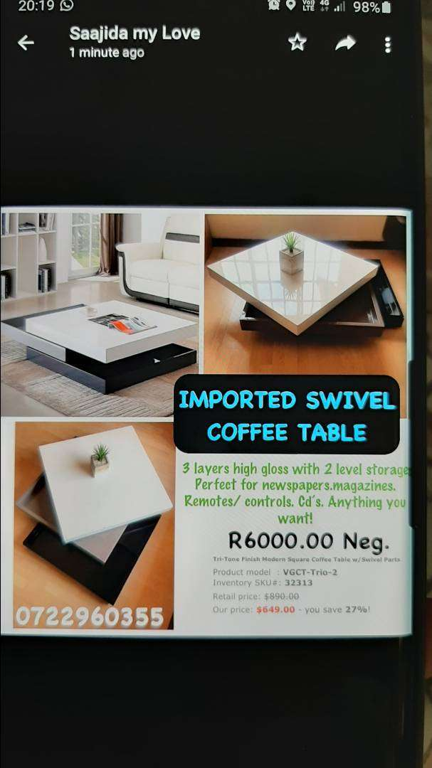 Imported swivel coffee table 0