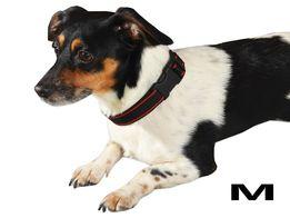 Ładna wytrzymała obroża dla psa czarna z czerwonymi wstawkami. M-XXL