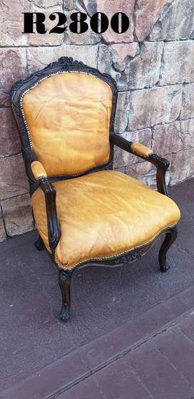 French Salon Style Armchair (Genuine Leather)