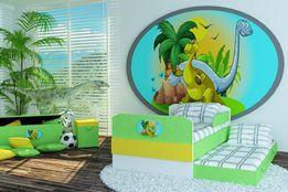 Łóżko dla dziecka zielono-żółta tkanina z motywem dinozaura 3 wymiary