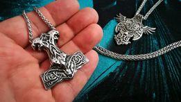 Nordycki celtycki stalowy wisiorek łańcuszek Wiking młot Thora prezent