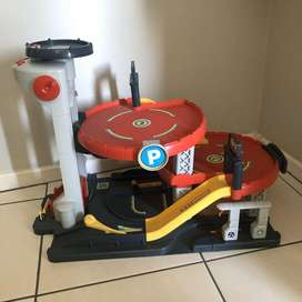Toy parking with ramps and helipad