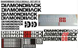 Diamond Back bicycle frame stickers decals graphics kits