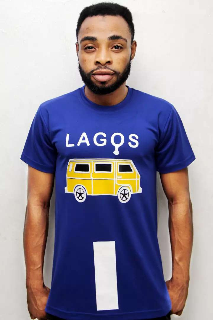 Lagos Metro printed Royal Blue T-shirt 0
