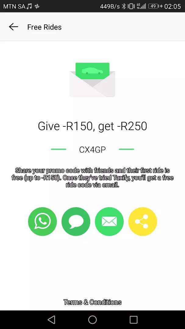 Get a free Taxify ride worth R150 on your first ride. 0