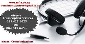 Ndebele Transcription services Cape Town