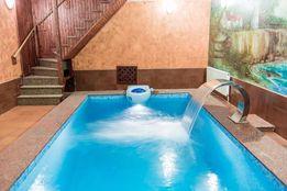 Баня на Веретеновке, теплый и большой бассейн, камин-мангал