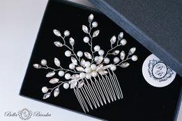 Ślubna ozdoba do włosów BIANCA grzebyk ślub kryształki złota, srebrna