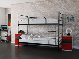 Łóżko piętrowe metalowe czarne