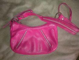 Сумка кожаная,фирменная,сумочка (кожа) ярко розовая Италия.