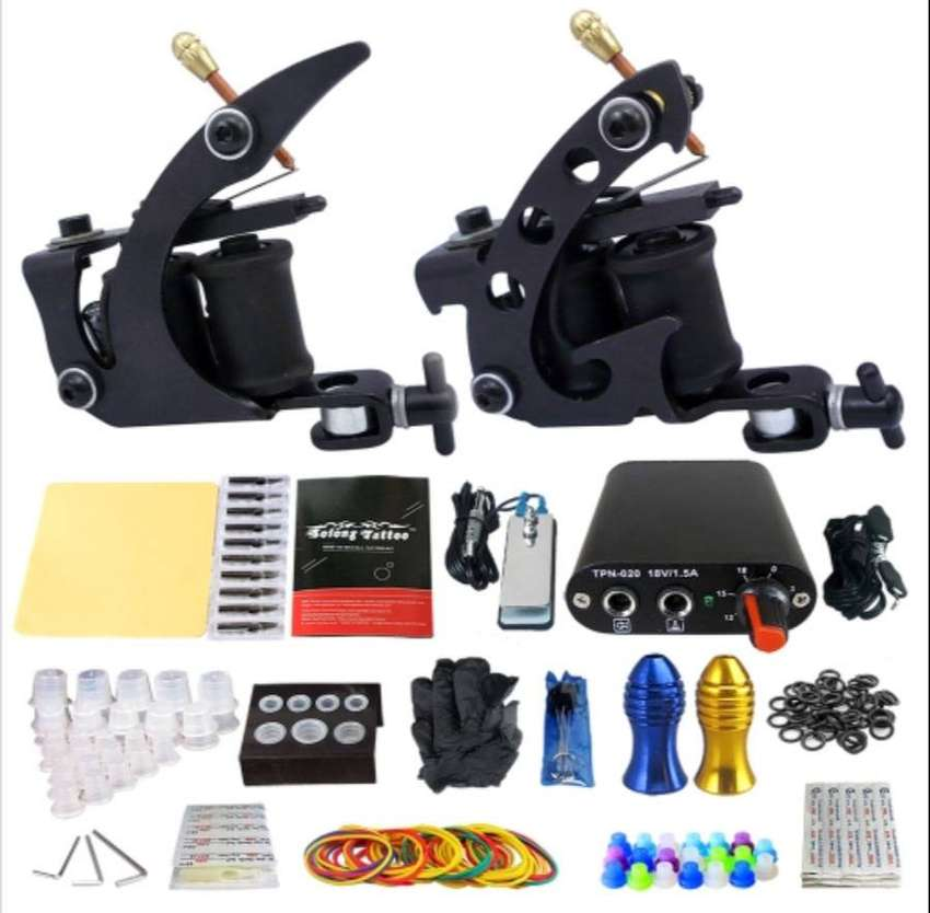 Tattoo Beginner Tattoo Kit 2 Pro Machine Guns Power Supply Needle Grip 0