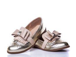 Золотые туфли лоферы Mah shoes размеры 28-35 туфельки золото