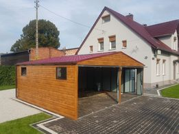Garaz blaszany 6x5.8 garaze blaszane drewnopodobne PRODUCENT