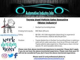 Toyota Used Vehicle Sales Executive (Motor Industry) Durban